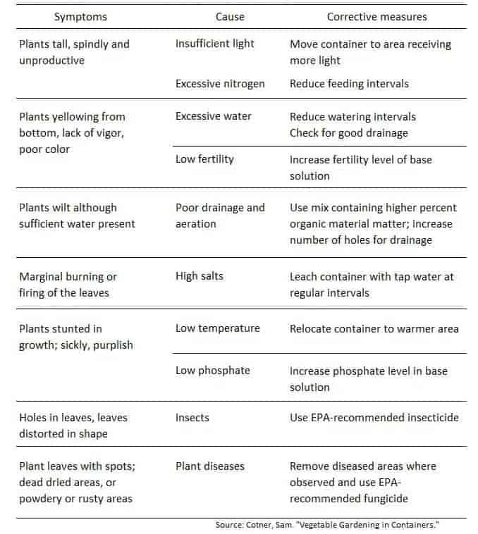 Chart of common problems in container gardening