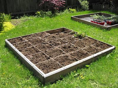 Square foot raised garden bed